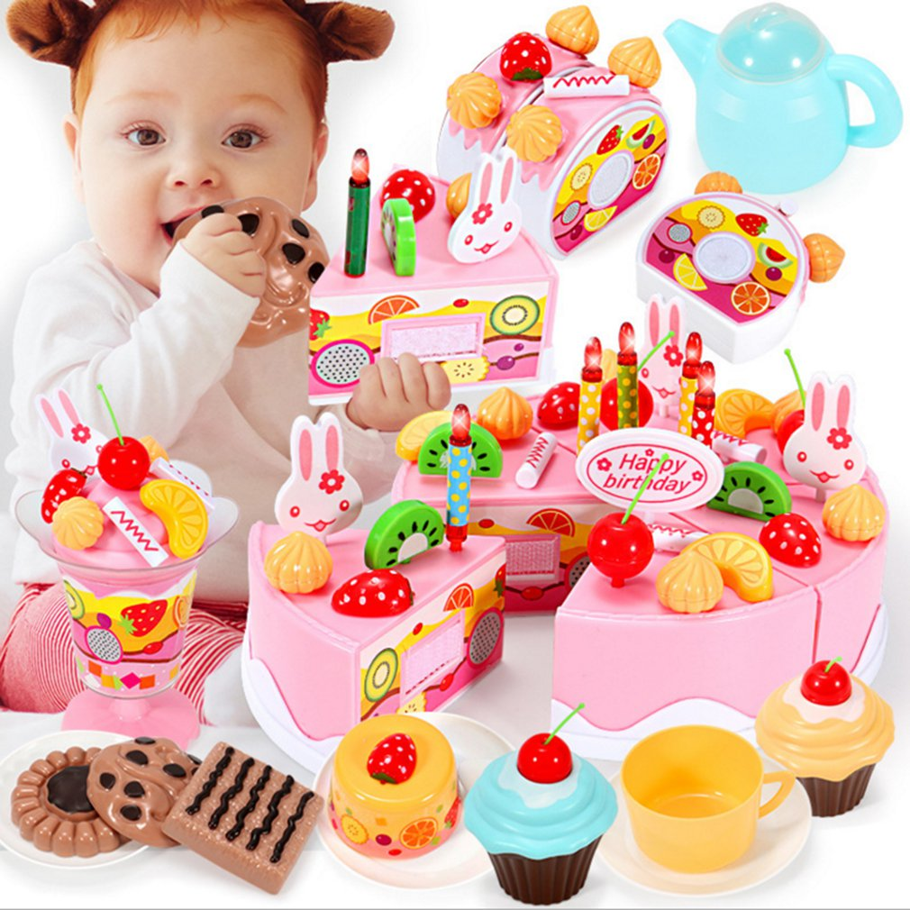 Wooden baby kitchen toys pretend play cutting cake play food kids toys wooden fruit cooking toy for girls game educational toys