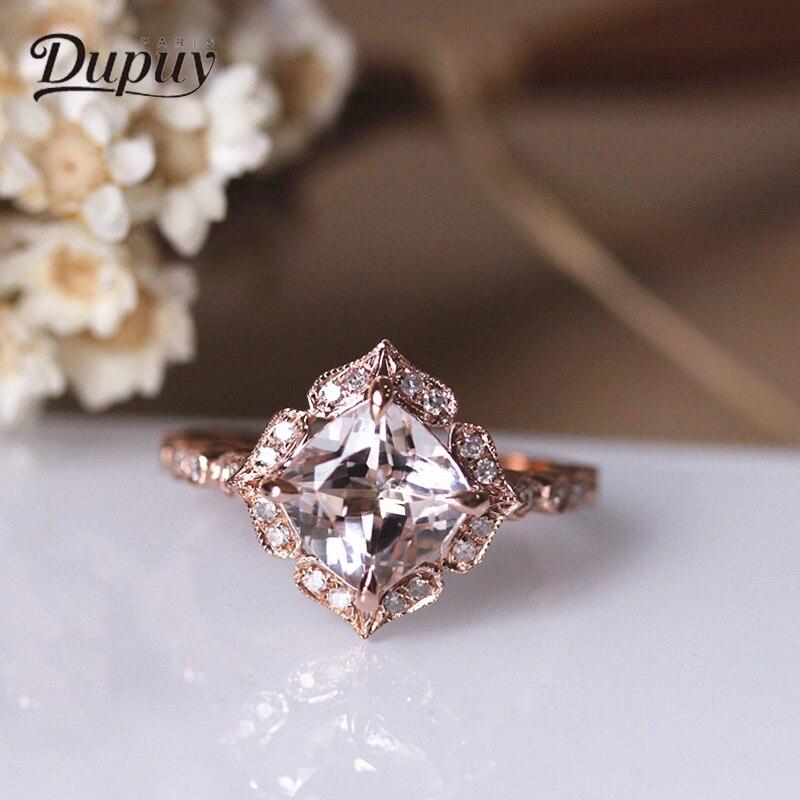 Принцесса Dupuy квадратное натуральное морганитное кольцо 7 мм 1.5ct Cut 14k розовое золото бриллиантовое обручальное кольцо изящное кольцо D180087