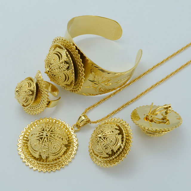 NEW Ethiopian Jewelry Sets – Real Gold Plated Habesha Set Ethiopia Wedding Bridal Jewelry Eritrea Nation Accessories #006902