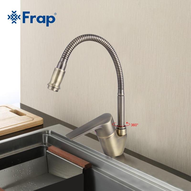 Frap Античная стиль бронза кухня кран холодной и горячей воды смесителя Torneira Cozinha гибкий нос F4330-4 градусов вращения 360