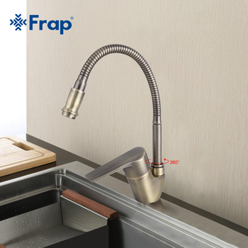 Frap Antique Style Bronze Kitchen Faucet Cold and Hot Water Mixer Tap Torneira Cozinha Flexible Nose 360 Degree Rotation F4330-4 - discount item  40% OFF Kitchen Fixture