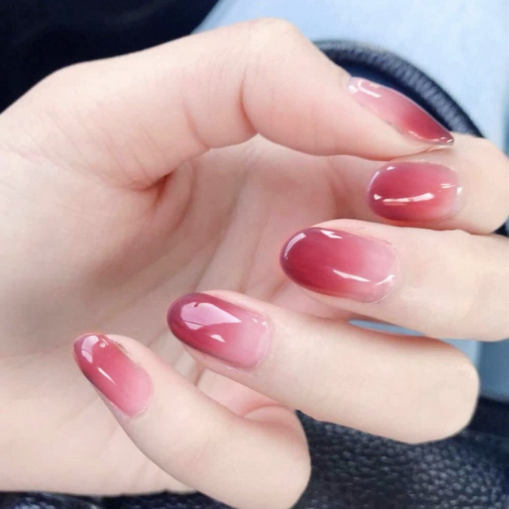 24pcs Gradient False Nails Full Cover Artificial Red Pink Color ...