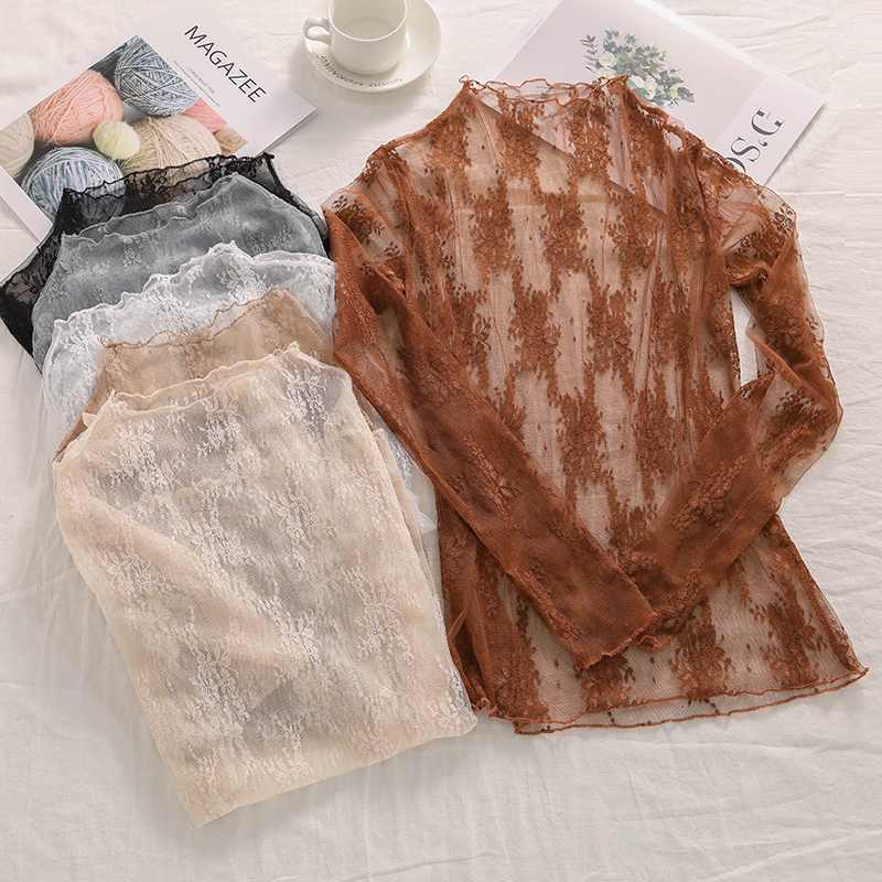 Hot Autumn Winter Women Lace Blouses Base Shirt Women Tops Sexy Mesh Blouses See-through Long Sleeve Black Striped Shirt Blouse