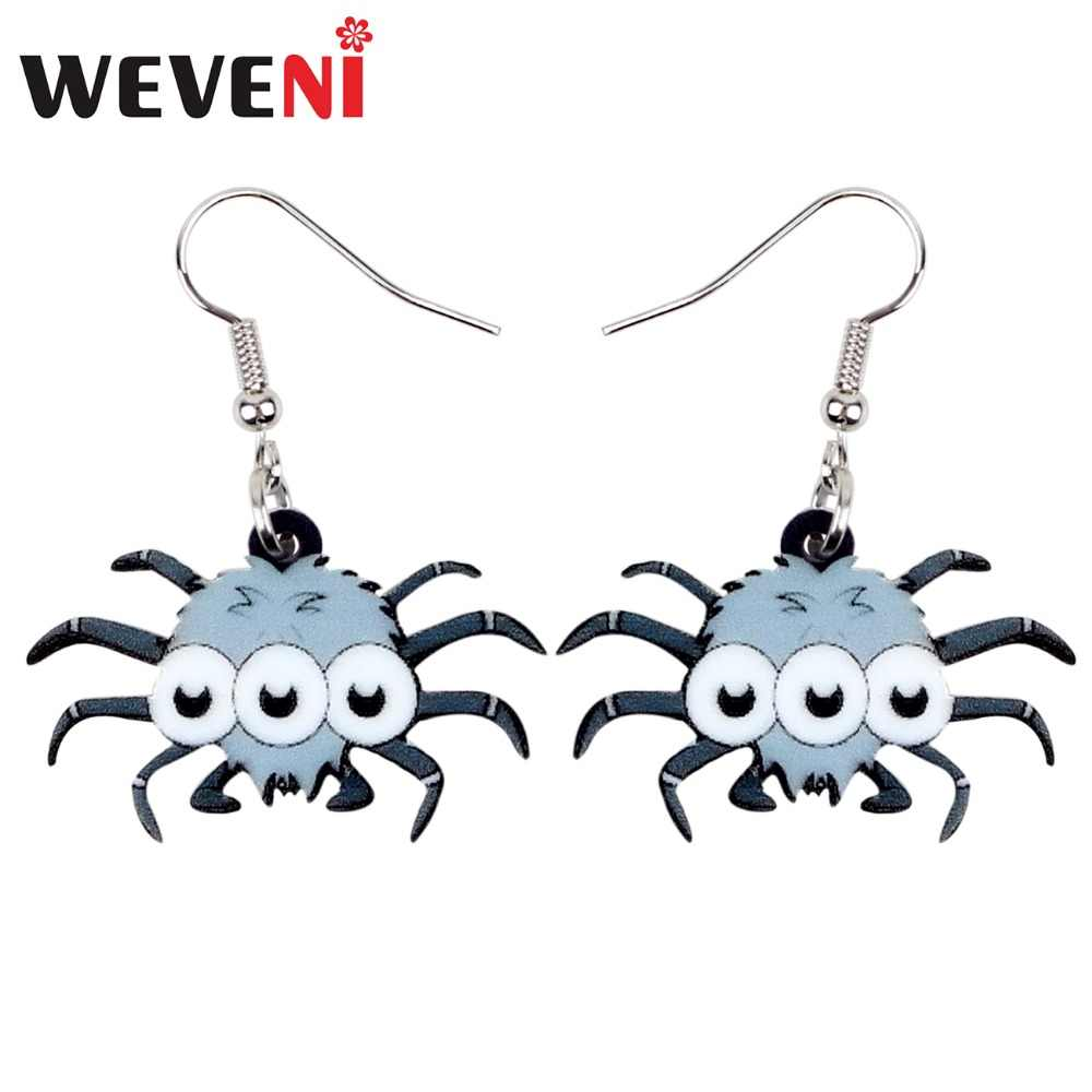 WEVENI Acrylic Halloween Cute Spider Earrings Drop Dangle Cute Funny Animal Jewelry For Women Girls Party Decoration Charms Gift