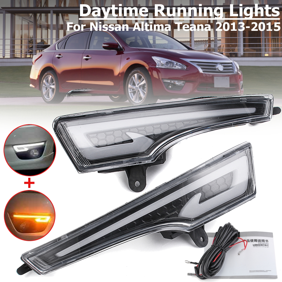купить 1Pair LED DRL Daytime Running Lights Lamp Fog light cover for Nissan Altima Teana 2013 2014 2015