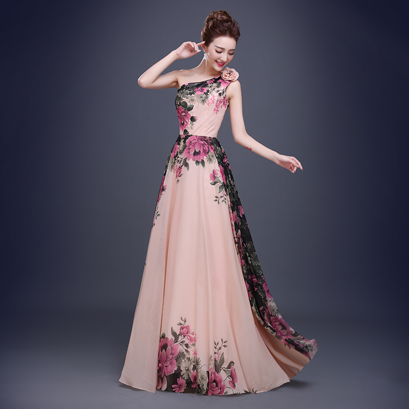 63acc10d51 China Prom Dresses 2015 Elegant Flowers One Shoulder Pattern Floral Print  Chiffon Evening Gown Ball Dress Robe Dubai