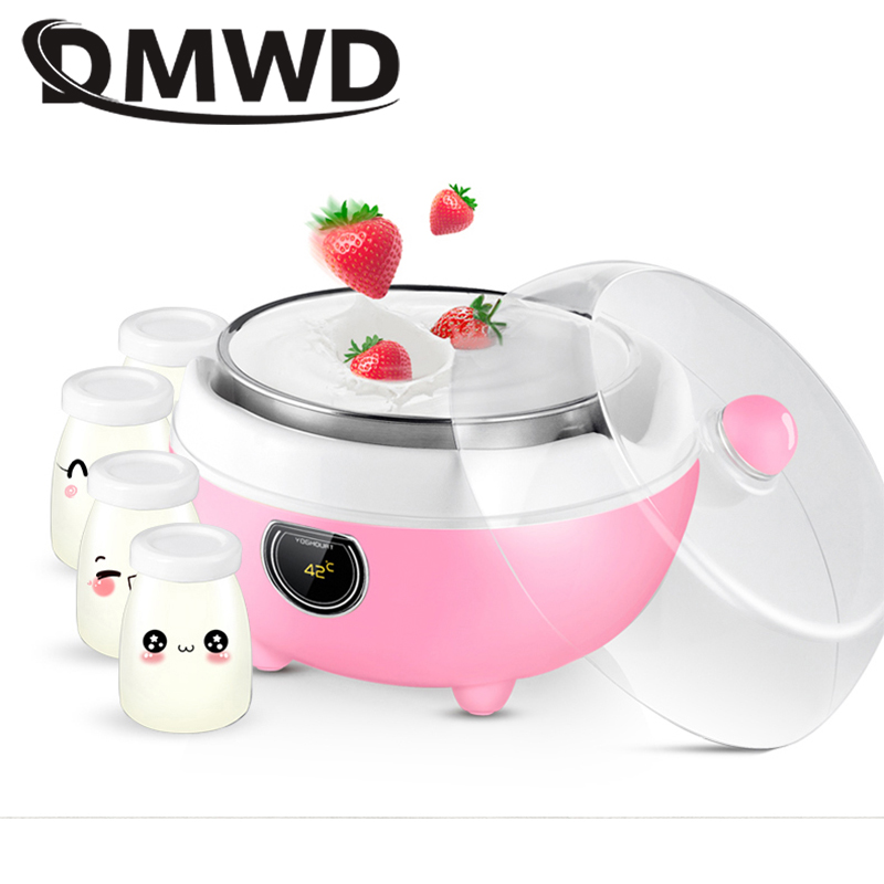 DMWD Mini Electric Yogurt Maker DIY Yoghurt Fermenter Natto Rice Wine Machine 1L Stainless Steel Container Four Glass Leben Cups
