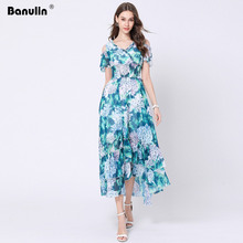 Banulin High Quality Summer Boho Beach Maxi Dress Women's Sleeveless V neck Off Shoulder Floral Print Green Casual Long Dress green off shoulder random floral print dress