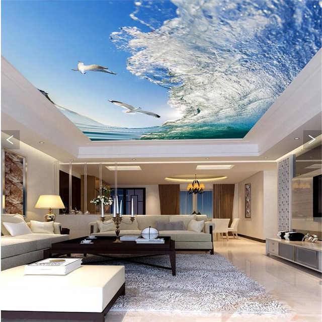 Custom ceiling murals sea waves dove blue sky wallpaper for living room bedroom ceiling background wall