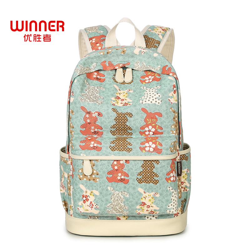 WINNER Women Backpack Cute Cartoon Animal Printing Backpack Canvas Rabbit School Bags For Teenage Girls Travel Backbag 2018 cartoon melanie martinez crybaby backpack for teenage girls school bags backpack women casual daypack ladies travel bags