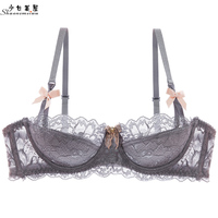 shaonvmeiwu Thin, translucent lace underwear with small boobs tucked into a sexy bra with three rows of buttons