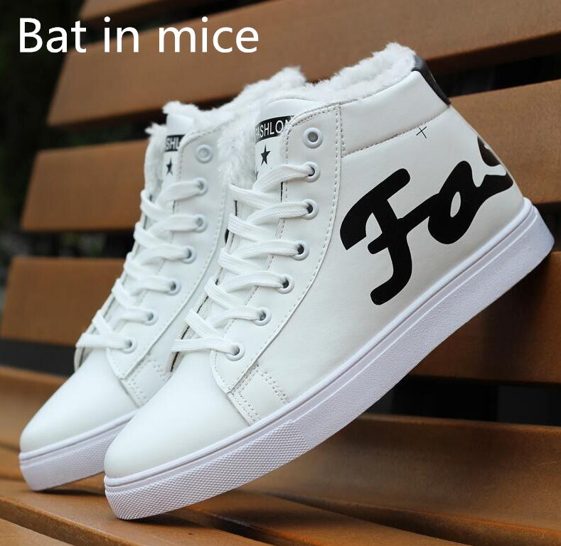 Bat in mice Casual high to help board shoes plus cashmere warm cotton shoes snow boots sports shoes men's shoes boots