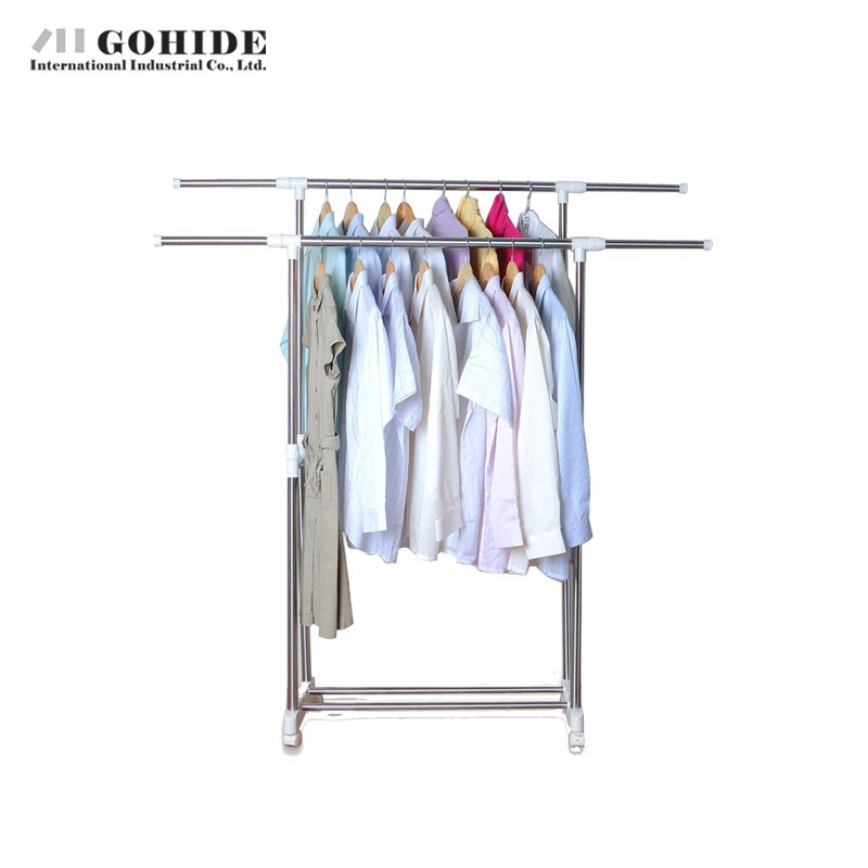 Gohide Yj3095 Stainless Steel Racks Drying Rack Double Pole Clothes Hanger Coat Racks Living Room Furniture Home Furniture