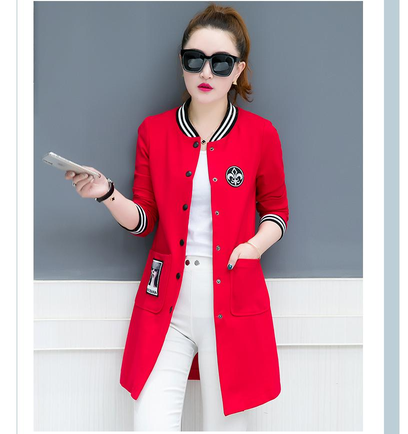 Spring And Autumn Coat Long Sleeves Long Section 2018 Spring New Windbreaker Women's Korean Version Of The Body Suit Baseball Cl