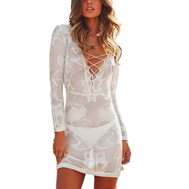 3c1a92aeed Women V neck Beach Cover up Crochet Hollow Bikini Cover up Swimwear Cover  Up Beach Dress
