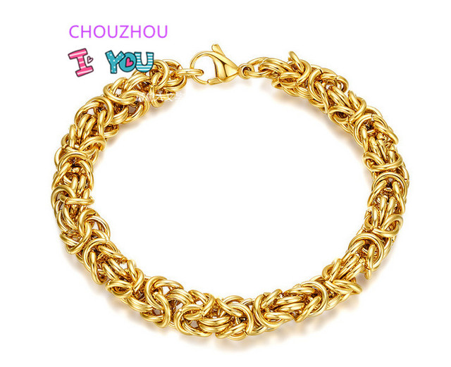 Mens Womens Stainless Steel Byzantine Bracelet Gold Color 7 6