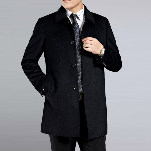 Middle age men's cashmere coat men wool trench male turn down collar single breasted woolen outerwear 2018 new autumn winter 2