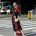 Famosa marca Fugitivo 2016 Mais Recente Moda Primavera Rendas Elegante Fino Flor Ebroidery Vermelho Vintage Preto Casuais Mulheres de Vestido Longo