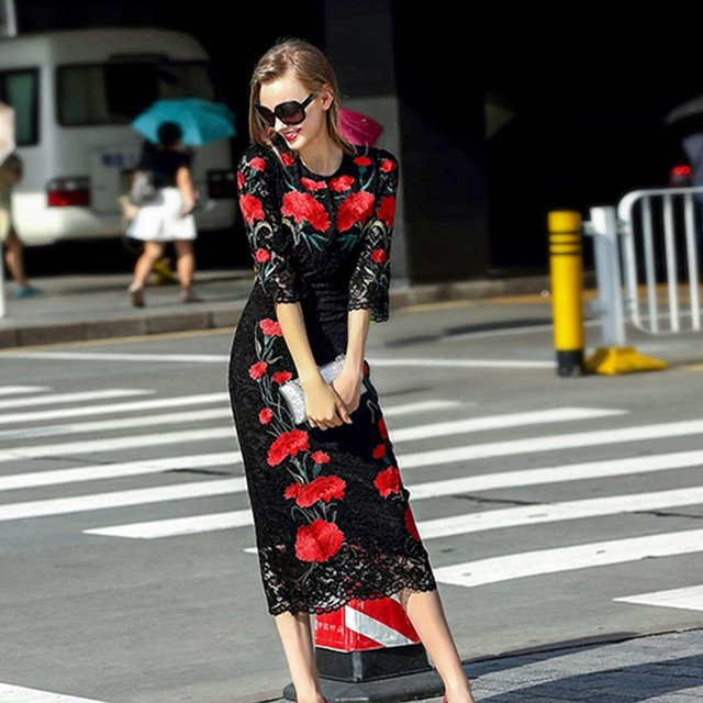 Famous brand Runaway  2016 Newest  Spring Fashion Slim Elegant Lace Ebroidery Red Flower  Vintage Black Casual Long Dress Women