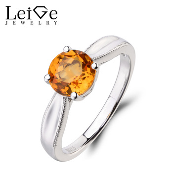Leige Jewelry Natural Citrine Ring Anniversary Ring Yellow Gemstone Round Cut 925 Sterling Silver Ring November Birthstone