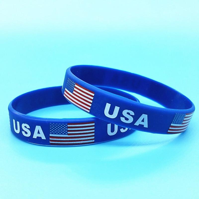 100pcs USA Flag Sports Bracelet Country Logo Silicone Wristband American Rubber ID Wrist Strap Men Bangle