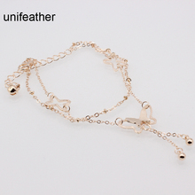 Europe Elegant Gold Color Double Chain Ankle Foot Chain Hollow Out Butterfly Beads Tassel Anklets For Women Fashion Jewelry Gift