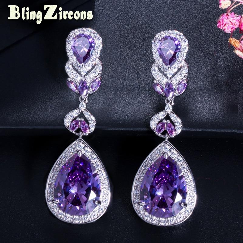 BlingZircons Euroopan amerikkalaistyylinen ylellinen violetti kristalli korvakorut Päärynä leikattu pitkät naiset korvakorut kuutio zirkonia E024