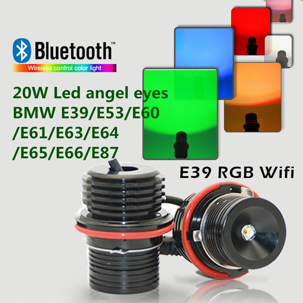No error E39 20W led rgb led marker for BMW E39 E60 E61 E53 E63 E65 E66 E87 led angel eye rgbw hot popular Wifi colors change free shipping rgb color change cree chips led angel eyes led marker for bmw e39 e87 e63 e64 e53 e65 e66 e60 e61