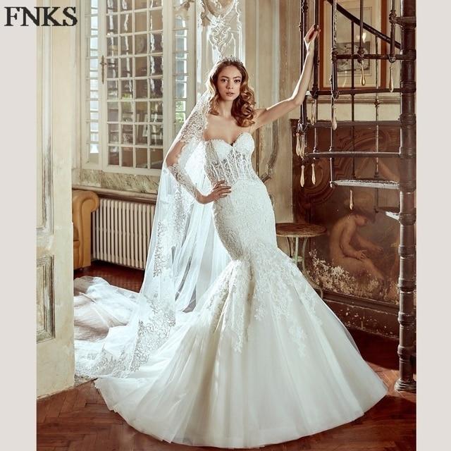 Y Backless Mermaid Wedding Dresses Lace Illusion Corset Trumpet Gowns Long Veil Liqued Bridal Dress