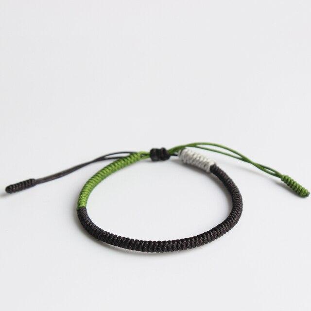 US $6 5 |Black Green Silver Tibetan Buddhist Handbraided Knots Lucky Rope  Bracelet Monks Blessed Handmade One Heart To The Buddha Zen-in Chain & Link