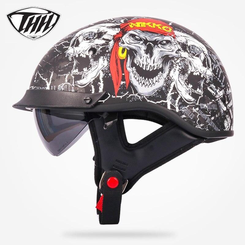 THH T72 mezza casco motocross con interno di occhiali da sole Popolari di Stile Harley moto Chopper bike retro casco DOT