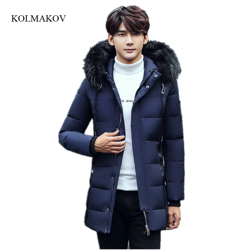 New arrival style men warm   down     coats   business casual long detachable fur collar solid white duck   down     coat   trench size M-3XL