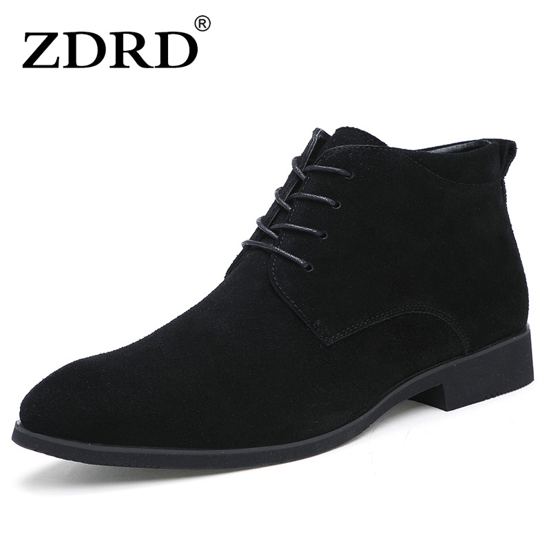 ZDRD New Winter Men Boots High Quality Genuine Leather Men Ankle Boots With Fur British Style Solid Lace-up Men Motorcycle Boots winter 2014 british round solid leather thick follow with frosted leather ladies nubuck leather ankle boots