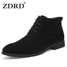 hot deal buy 2016 new winter men boots high quality genuine leather men ankle boots with fur british style solid lace-up men motorcycle boots