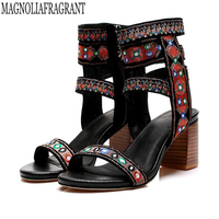 Folk Custom New Women Sandals Thin High Heels Open Toe Party Women Shoes Woman Embroidered Sheepskin