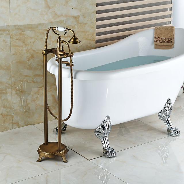 Antique Carved Bathroom Shower Set Floor Mount Freestanding Bathtub Filler Bath  Tub Faucet Antique Brass Finish
