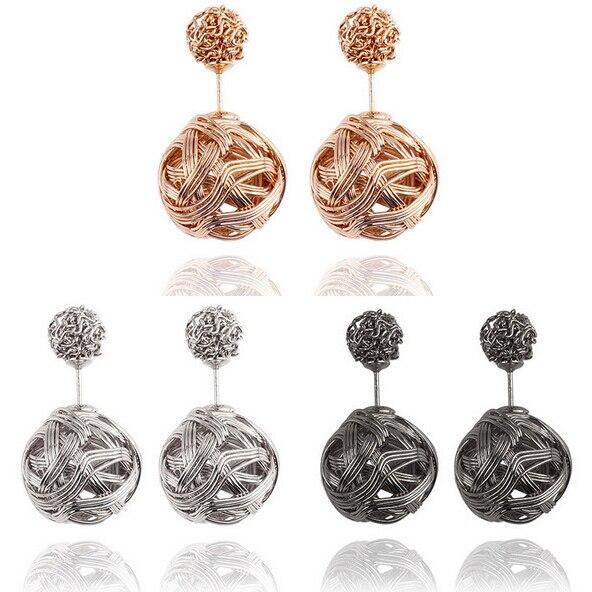 2340a6368f10 Doble cara Pendientes para las mujeres aliado doulbe Ball pendiente  pendientes de moda brincos mujeres