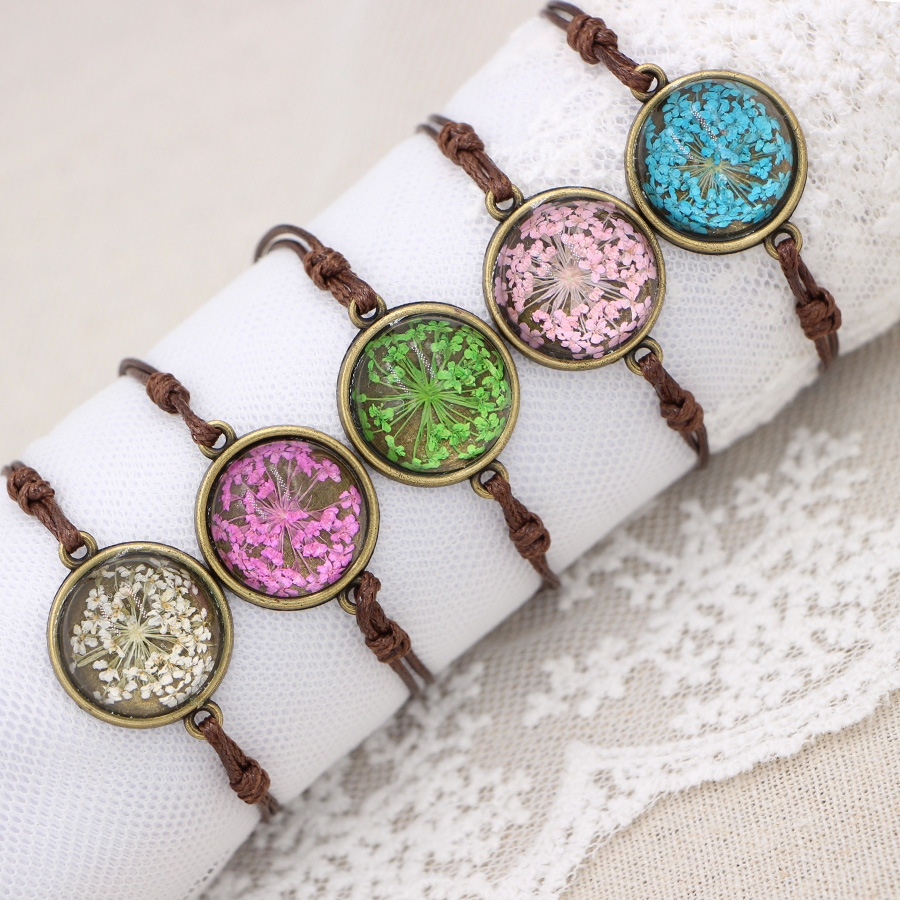 Handmade Babysbreath Lace Natural Dried Flowers Charm Bracelets & Bangles For Women Fashion Girl Gift Jewelry