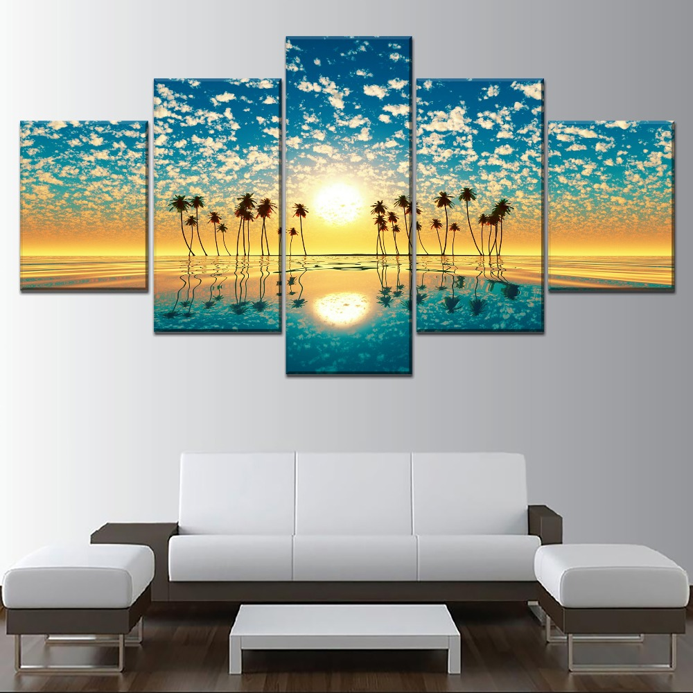 Landscape Sky Fantastic Sunset Palm Trees Reflection Painting 5 Piece Style Canvas Print Type Decorative Wall Artwork Poster