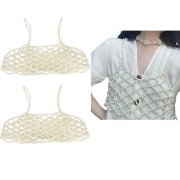 Womens Sexy Handmade Imitation Pearls Beading Crop Top Exterior Vest Hollow Out Grid Camisole Decoration Night Party Clubwear 3