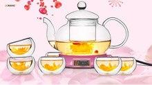 7 teile/satz Longming Haus Neue hitzebeständigem glas teekanne set 1 stück 600 ml teekanne + 6 stücke doppel tasse sonderverkauf JO 1051-2