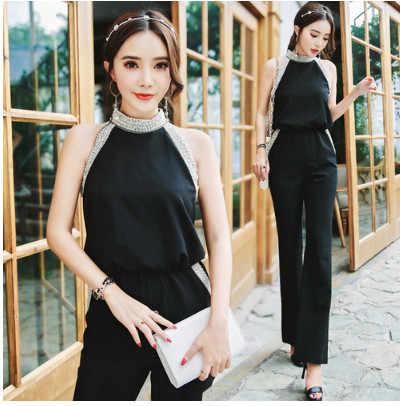 6a702a12b595 Retro Sleeveless Halter Summer Jumpsuits 2018 OL Style Women Elegant Retro  Office Workwear Bodysuits Black Jumpsuits
