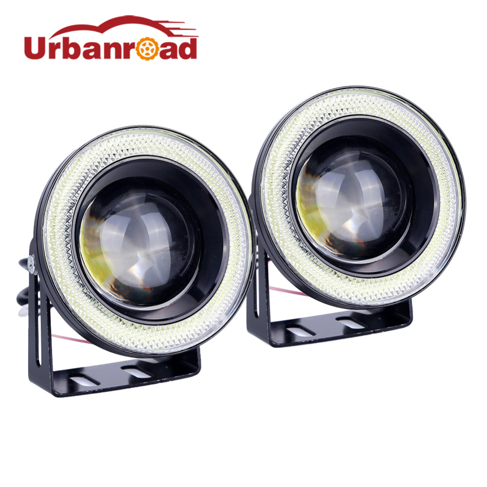 2pcs Car Cob Angel Eyes Fog Light Led DRL Daytime Running Lamp Lens Projector Halo Ring Waterproof Xenon White Blue 30W 12V SUV wljh 2x car led 7 5w 12v 24v cob chip 881 h27 led fog light daytime running lamp drl fog light bulb lamp for kia sorento hyundai