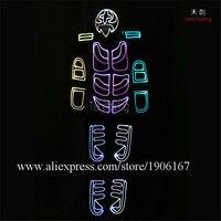 Программируемый волоконно оптический light up Одежда светодио дный световой уличного Танцы костюм ночь Паркур осветить производительность ба