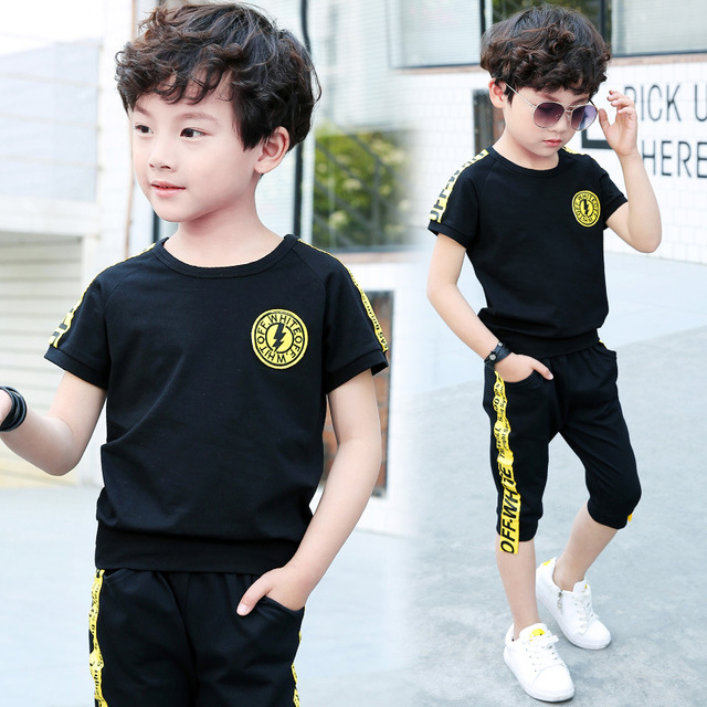 Summer 2018 Teen Boy Clothing Set Boys Clothes Casual Sports Childrens Clothing Sets Hot Sale Childrens