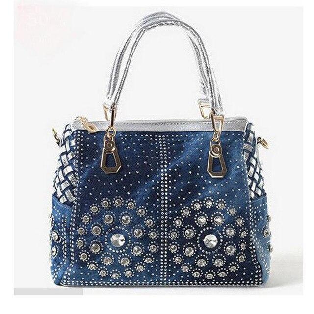 2017 New vintage blue women handbag large capacity fashion UK flag cross denim  bag casual shoulder c2c835c5a1