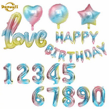 Gradiente cor folha balão 32 polegada 0-9 número 4d bola pentagrama em forma de coração redondo ballon festa de aniversário decoração aniversário