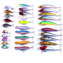 LEO 30 Pcs/lot Almighty Mixed Fishing Lure Hard Bait Set Kit Wobbler Crankbait Swimbait With Treble Hook