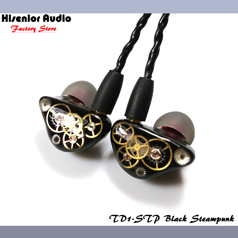 Hisenior Steampunk Super Bass Dynamic Driver In-Ear Monitor Noise Isolating Universal Fit IEMs Custom Earphone Free Shipping dhl free 2pcs black white m6 pro universal 3 5mm wired in ear earphone noise isolating musician monitors brand new headphones