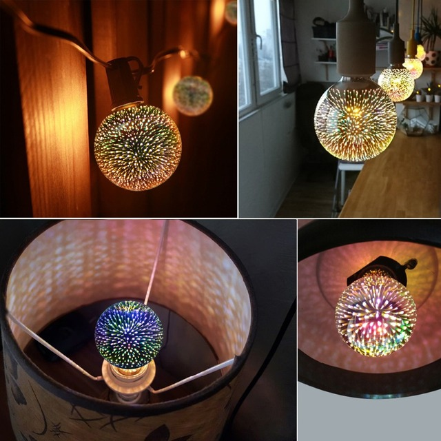 3D Fireworks Effect LED Pendant light Bulb Vintage Art Decoration 3D lamp 110V-220V E27 Glass Shade A60 ST64 G80 G95 G125
